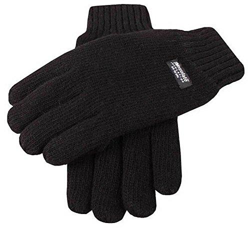 Dents Plaine noire gants tricotés - Grand de