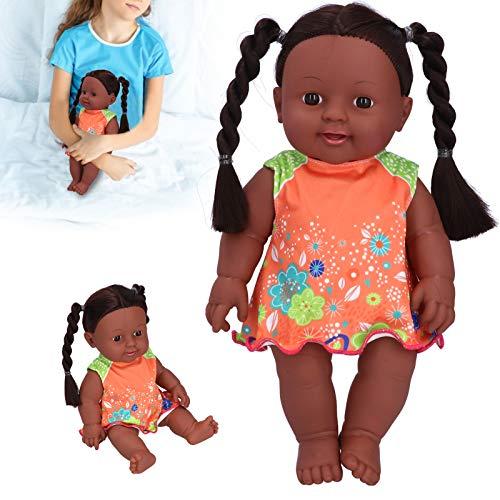 Puppe, afrikanisches Schwarz 3 Farbe Optional lebensechte exquisite Kinderpuppenspielzeug, schön für Babykinder(Q12-10 Orange and green contrast skirt)