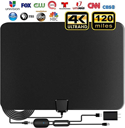 TV Antenna,2020 Indoor Amplified Digital HDTV Antenna 90-120 Miles Range, 4K 1080P HD VHF UHF for Local Free Local HD TV Channels - 18 FT Coax Cable