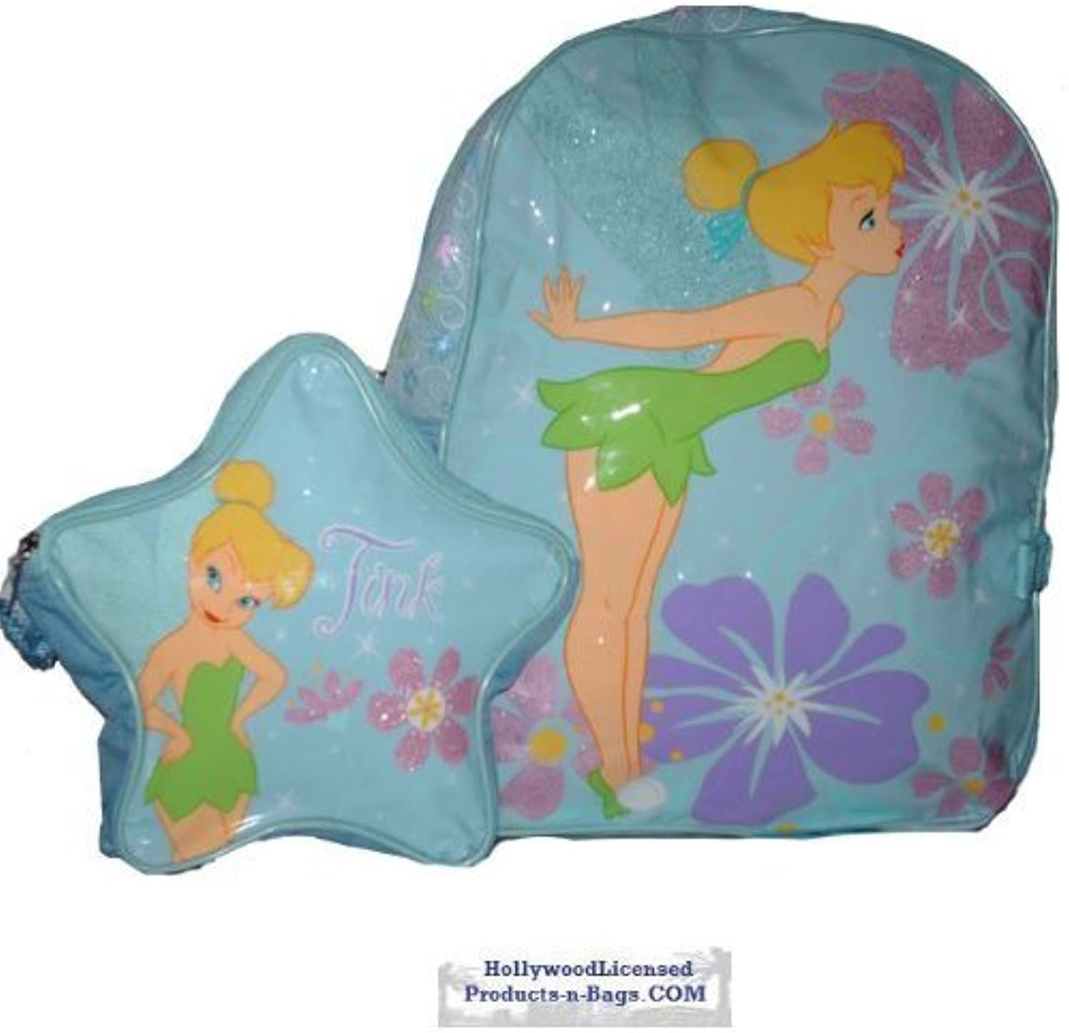 Disney Tinkerbell Tinker Bell Full Size 15 Inch School Backpack Bag with a Small Detachable Backpack