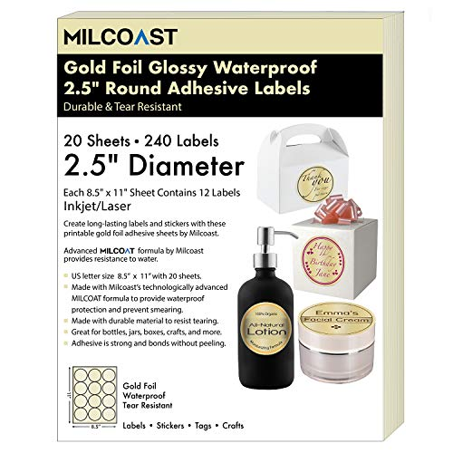 """Milcoast Gold Foil Glossy Waterproof Tear Resistant Blank Adhesive 2.5"""" Round Circle Shaped Labels - for Inkjet/Laser Printers - 240 Labels (20 Sheets)"""