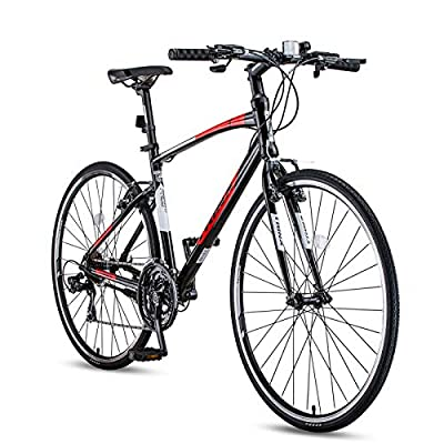 Adult Mountain Bike,21-Speed Road Bicycle,700C Lightweight Aluminum Frame Road Bike for Men and Women,Black and Red