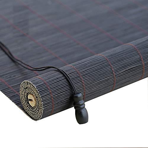 FUFU Persianas enrollables estores Las Cortinas Romanas, persianas de bambú for la Ventana, Sombra Cortinas Sol con Cenefa y Side Pull, en 27 tamaños Gris para Uso Interno o Externo