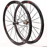 YZU Ensemble de roues de vélo de route 700 C avant et arrière à double paroi 40 mm 8–11 vitesses C/V Frein moyeu cassette en fibre de carbone Roulement scellé QR Noir