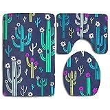 Beck Roy Conjuntos de alfombras de baño 3 Piezas Cactus Lindos y florecientes del Vector Espuma de Memoria Alfombras de baño Set Alfombra de baño Tapa de Estera de Contorno