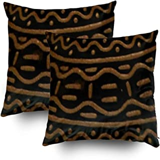 Musesh Christmas Pack of 2 American Home Decor Brown Black Print Cushions Case Throw Pillow Cover for Sofa Home Decorative Pillowslip Gift Ideas Household Pillowcase Zippered Pillow Covers 16x16Inch