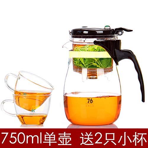 Tetera con filtro extraíble y lavable, 750 ml, para 2 tazas Olla individual de 750 ml para 2 tazas pequeñas.