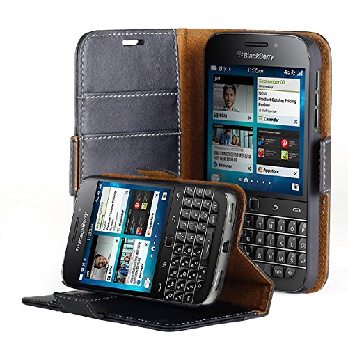 AceAbove Blackberry Classic Case, Premium Genuine Leather Wallet Case with Kickstand and Card Slots (Black) for Blackberry Classic (Q20) 2014 Model