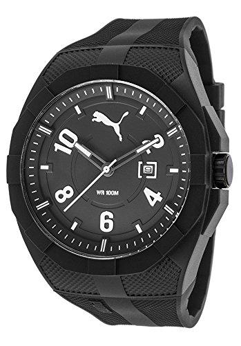 Puma Iconic - Reloj análogico de cuarzo con correa de poliuretano para hombre, color negro