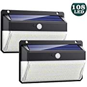Solar Lights Outdoor 108 Led, Feob Upgraded Super Bright Motion Sensor Light with 270° Wide Angle,Wireless Waterproof Security Wall Lights for Front Door, Yard, Garage, Deck, Pathway, Porch(2 Pack)