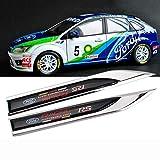 ASDNN 2 unids/Set Sline Emblems Badge 3D Car Sticker Side Metal Cuchillo Tipo Fender para Ford Focus 2 Focus 3 Fiesta Kuga Fusion Escape Edge