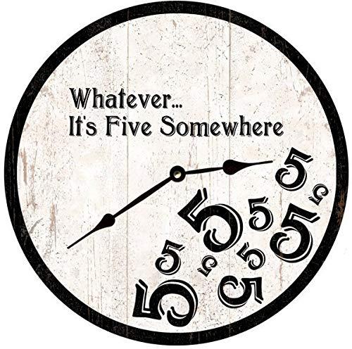 Five Oclock Somewhere Clock Black and White 5 Oclock Wall Clock