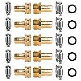 Alanfox 5 Sets Brass Garden Hose Repair Mender Kit for 5/8 or 3/4 Garden Hose...