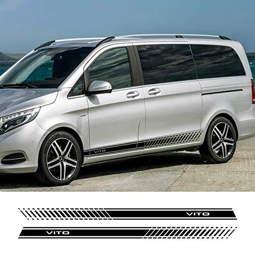 Piaobaige 2 Stück Car Sides Streifenaufkleber für Mercedes Benz Vito V Klasse W447 V260 Auto Vinyl Grafik...