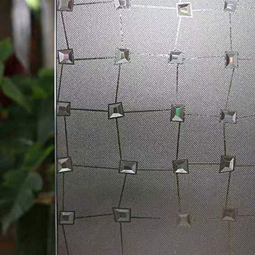 LMKJ Película de Ventana de Vidrio 3D Pegatina Diamante estático decoración antiestática privacidad esmerilada Piedra Preciosa película de Vidrio autoadhesiva A32 45x200cm