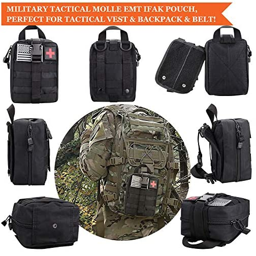 Monoki First Aid Survival Kit, 302Pcs Tactical Molle EMT IFAK Pouch Outdoor Gear EDC Emergency Survival Kits First Aid Kit Trauma Bag for Hiking Camping Hunting Car Travel or Adventures 4