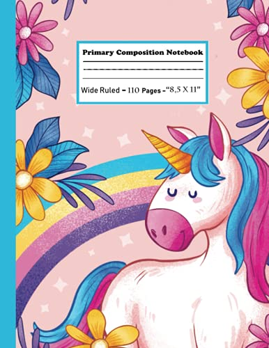 primary composition notebook k-2: primary composition notebook with picture space   cute unicorn pink rainbow Mermaid Pattern notebook for teen girls  ... Dotted Midline Handwriting Practice Paper