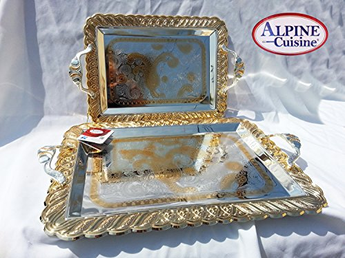 "Beautiful Decorative 2 Pieces Tea & Coffee Serving Tray 18"" & 14"" Gold Plated Serving Tray Rectangle Platter Glossy Arabic style Kitchen,Party Serving With Nice Metal Handles For All Occasions"