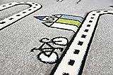 Merinos Kinderteppich Straßenteppich Lernteppich Junge mit Straßen und Häusern in Grau Größe 160x230 cm - 5