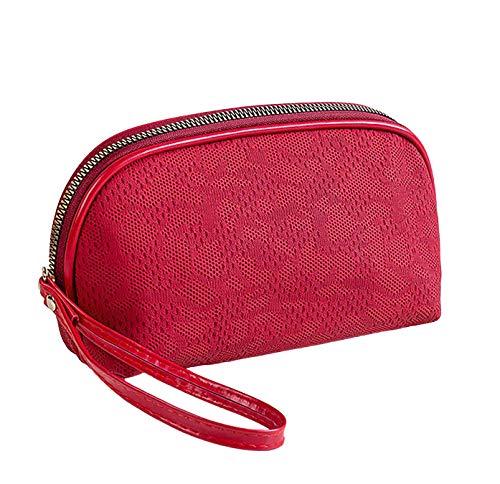 LEUCHTBOX Kleine Kosmetiktasche Damen Kulturtasche Schminktasche Make-Up Bag Fashion Chic Ajourmuster Strickstoff Optik (Rot)