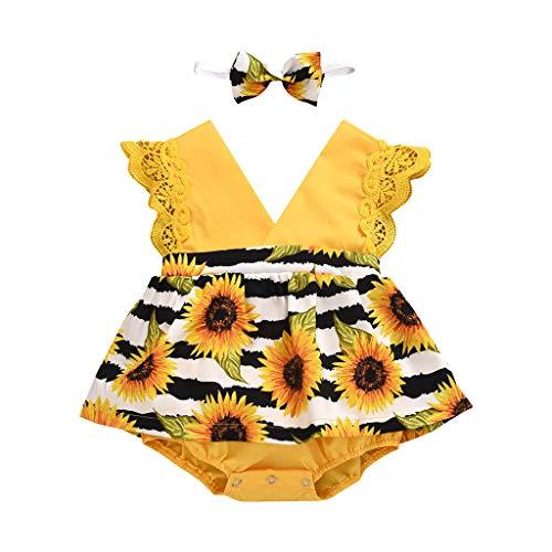 LEXUPE Säuglingsbaby Ärmelloses Sonnenblumendruck-Strampler-Bodysuitkleid + Stirnband(Gelb,80)