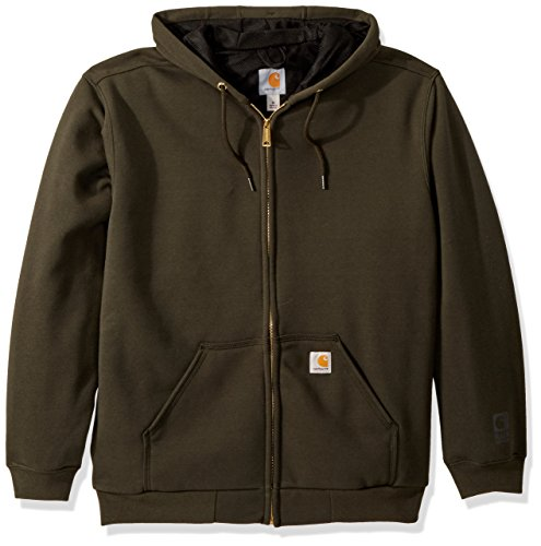 Carhartt Men's Rain Defender Rutland Thermal Lined Hooded Zip Sweatshirt, peat, X-Large