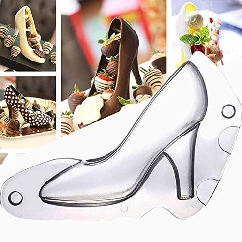 KFGJ Schuh Backform 3D Schuh Schokoladenform Kuchenform High Heels Schokolade Form Kunststoff SüßIgkeitform FüR DIY Kuchendekoration, Schokolade, EiswüRfel, Handgemachte Seife Medium Weiß