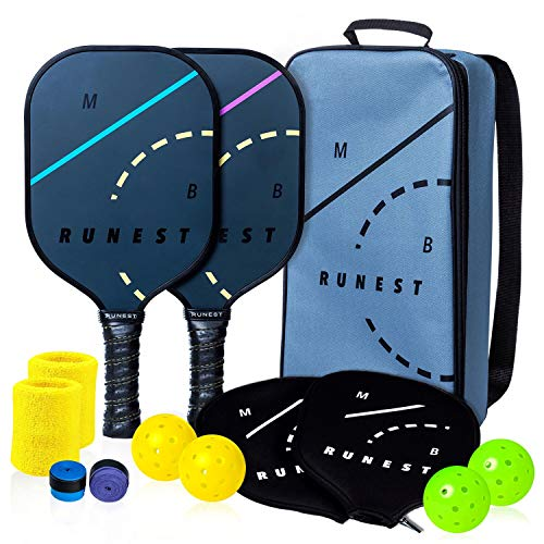 MB RUNEST Pickleball Paddles Set with Bag and Covers - Lightweight Rackets with Composite Honeycomb Core, Premium Graphite Face, Covers, Extra Grips & 4 USAPA Approved Outdoor Balls