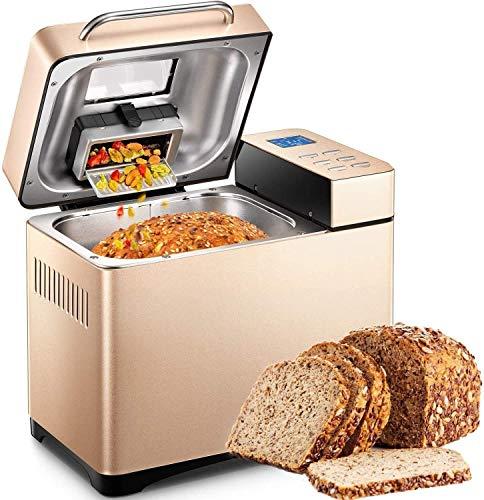 Yabano máquina de Pan de Acero Inoxidable, 19 programas, máquinas de Pan con Pantalla táctil de Alta sensibilidad, Temporizador de 15 Horas, 1Kg de Gran Capacidad,Dispensador de nueces Panificadora