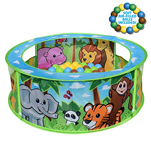 Sunny Days Entertainment Zoo Adventure Ball Pit - Indoor Pop Up Play Tent Toy for Kids and Toddlers | Colorful Balls Included