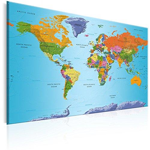 murando Prikbord Wereldkaart 120x80 cm Kurk Boord & Canvas Afdruk op Niet-geweven Materiaal Memobord Prikbord Afbeelding Foto Schilderen Home Decor Muurkaart kaart continenten k-A-0104-p-d