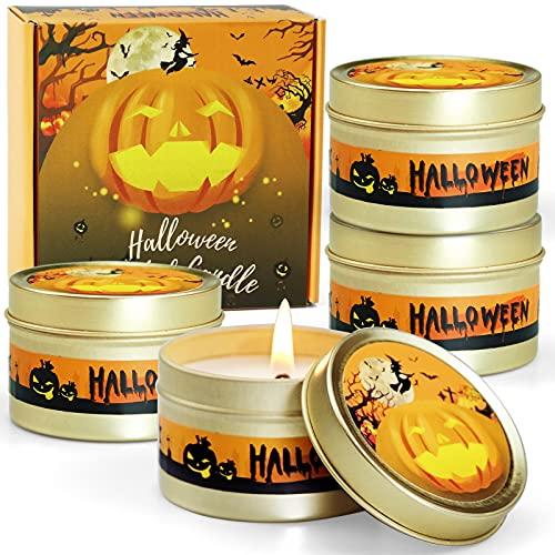 DERDUFT Scented Candles, Pumpkin Aromatherapy Candles for Halloween, Soy Wax Halloween Candles Gift Set, 4×2.5oz