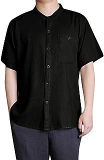 Mens Shirts Linen Tronet Men's Baggy Cotton Linen Solid Button Short Sleeve Retro T Shirts Tops Blouse