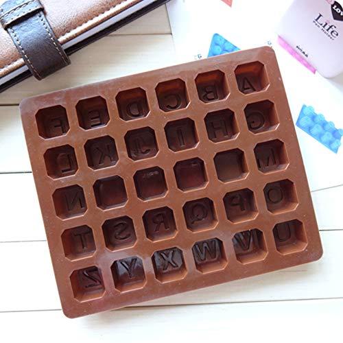 Sunnymi - Molde de silicona antiadherente para tartas (26 letras, 18 x 15 x 1,5 cm)