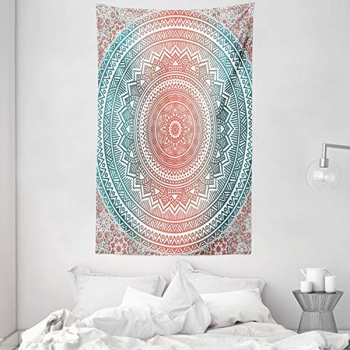 ABAKUHAUS Teal y Coral Tapiz de Pared y Cubrecama Suave, Mandala Arte Degradé Patrón Antiguo Gitano Estilizado Cosmos Místico Imagen, Resistente a la Suciedad, 140 x 230 cm, Coral