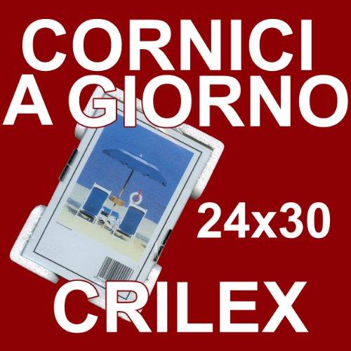 3 Cornici a Giorno 24x30 in Crilex Antinfortunistico, Ultra- Trasparente e Leggero - Cornice in Crilex 24x30 - Conf. da 3 Pz.