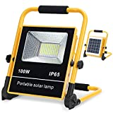 Solar Powered Work Light Portable Outdoor Solar led Flood Light, 100W LED Work Light 6000K Solar Powered Security Lights for Camping Lights,Warning Light