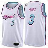 xiaotianshi Jerseys de la NBA de los Hombres - Miami Heat # 3 Dwyane Wade Frestro Fresco Tela Transpirable Resistente al Desgaste Transpirable Vintage Basketball Jerseys,Blanco,XL