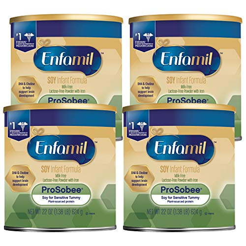 Enfamil ProSobee Soy Sensitive Tummy Baby Formula Dairy-Free Lactose-Free Milk-Free Soy Based Formula Plant Protein Powder 22 oz. Can (Pack of 4 Cans) Omega 3 DHA for Brain Support