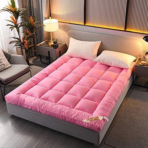 Extra Weich Schlafmatratze Topper - Plüsch Gesteppte Kissen-top Mit Nach Unten Alternative Füllung,Wasserbeständig Optimale Dick Matratze Topper Pad-Rosa 135x200cm(53x79inch)