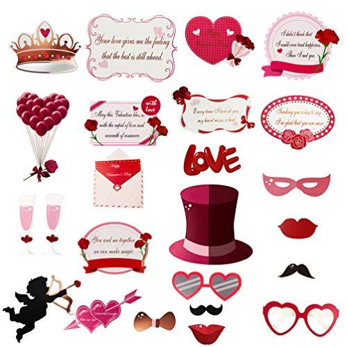 24 peças de acessórios para cabine de fotos de Dia dos Namorados da Valicclud, acessórios de selfie com cartão de papel, chapéu, acessórios para festa de casamento, noivado, chá de noiva