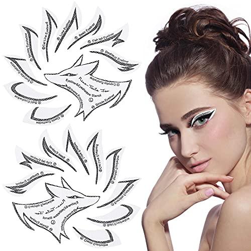 10 Sets Eyeliner Stencil Kit Eyebrow Stencil Set Non-woven Materials...