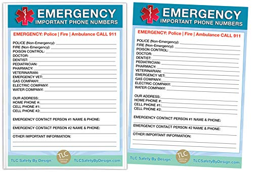 """Emergency Contact Cards in Magnetic Sleeve Home Alone 5"""" x 7"""" Doctor Approved Refrigerator Safety Important Phone Numbers Call List (2 Cards and 1 Magnetic Sleeve, Blue Medical ICE)"""