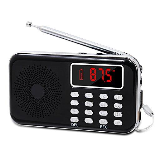 LEFON Mini Digital FM Radio + MP3 Music Player + Digital Voice Recorders Support TF Card/USB Disk with LED Screen Display Emergency Flashlight (Black)