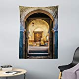 ABAKUHAUS marokkanisch Wandteppich Altes marokkanisches Motivaus Weiches Mikrofaser Stoff 110x150cm Ohne Veblassen Waschbarer Druck Blue beige