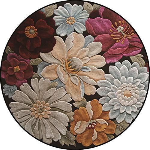 Lanqinglv Samt Teppich Rund 160cm Bunt Blumen Muster Terrassen Teppich Dekorative Wohnzimmer Schlafzimmer Vintage Teppich Läufer Indische Böhmisch Boho,E001