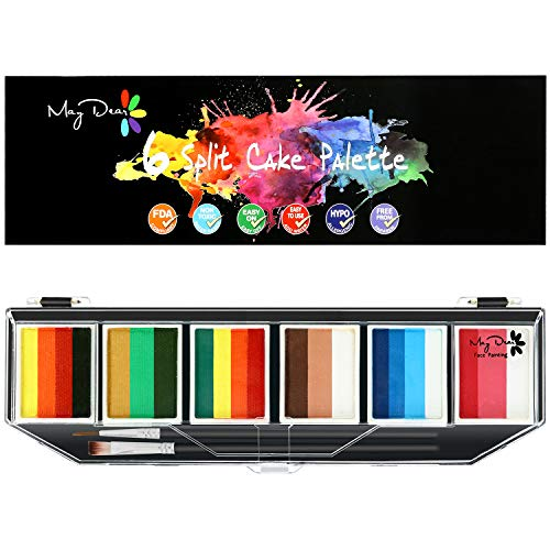 Maydear Face Painting Kit for Kids & Adults with 6 Colors Split Cake Palette, 2 Brushes, Safe & Non-Toxic Water Based Makeup Face Paint Kit