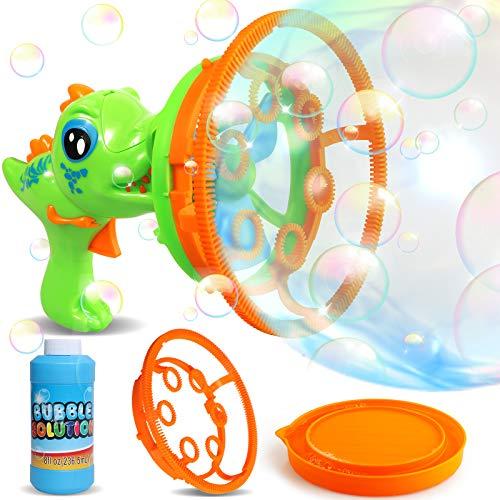 RUN BRAIN GO Big Bubbles Dinosaur Bubble Gun for Kids Backyard Summer Toys for Outdoors Activity, Easter, Birthday Gift for Boys& Girls