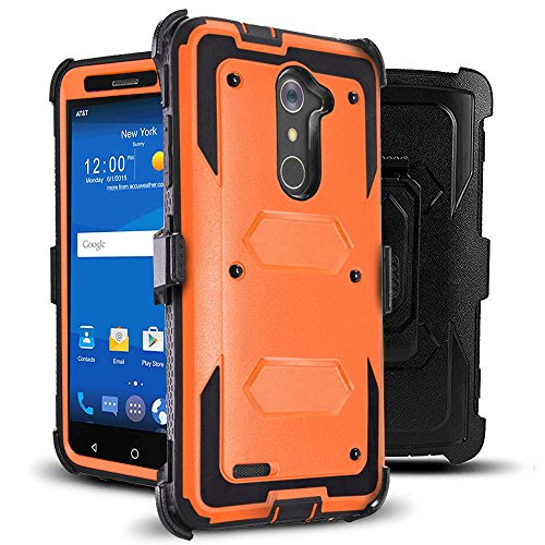 J.west Compatible with ZTE ZMax Pro Case Belt Clip Kickstand Heavy Duty Full-Body Rugged Protection Impact Armor TPU Hard Case Cover Without Screen Protector for ZTE Zmax Pro Z981/Grand X Max 2 Orange