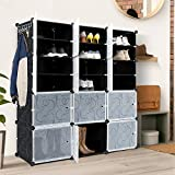 WBHome Portable Shoe Rack Organizer, 8-Tier Plastic Cube Storage Tower Shelves for 48 pairs of shoes, Modular Cabinet for Hallway Bedroom Closet Entryway, Black